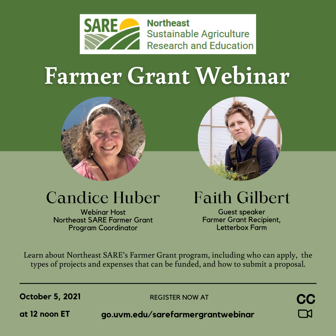 Northeast SARE Farmer Grant Webinar offered on October 5, 2021